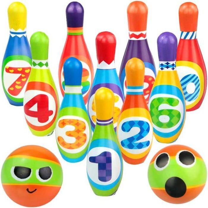 Jeux Exterieur Enfant - Jeu Quilles 10 Bowling Équipement Sportif Quilles Enfant 2 Boules Quille Bowling Jeux de Jardin Fête de Jard