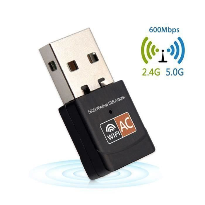 Adaptateur Wifi Clé Usb Sans Fil 600Mbps 2.4 + 5.8Ghz C01bfb