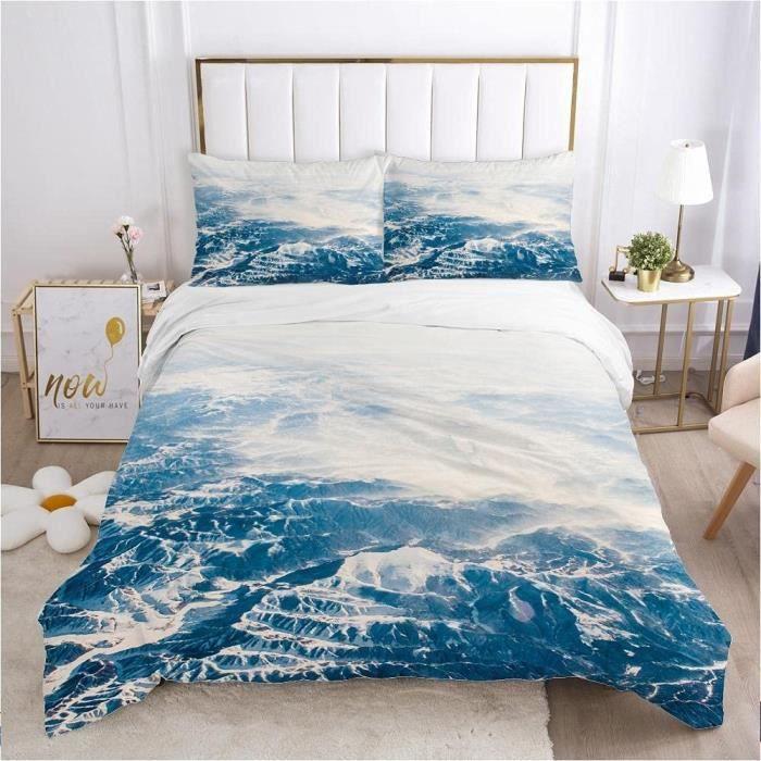 Housse De Couette Mer Bleue Parure de lit avec Fermeture éclair pour Adulte et Adolescents, Microfibre Douce Literie200*200cm[2471]