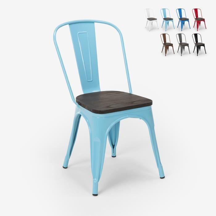 Chaises industrielles en bois et acier Tolix pour cuisine et bar STEEL WOOD - couleur:Turquoise