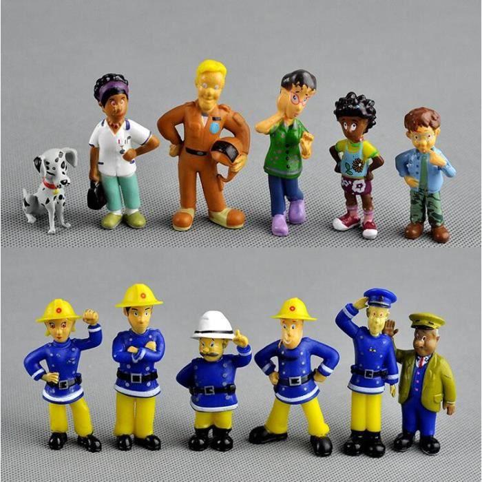 12 pcs / ensemble anime pompier Sam figurine figurine PVC chiffres poupée jouets 3-6 cm mignon dessin animé collection jouet