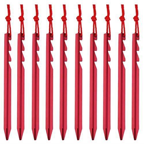 Piquets de Tente, 10 pièces Piquet de Fixation pour Sardines Piquet, pour Camping Randonnée Voyage Activités Extérieur - rouge