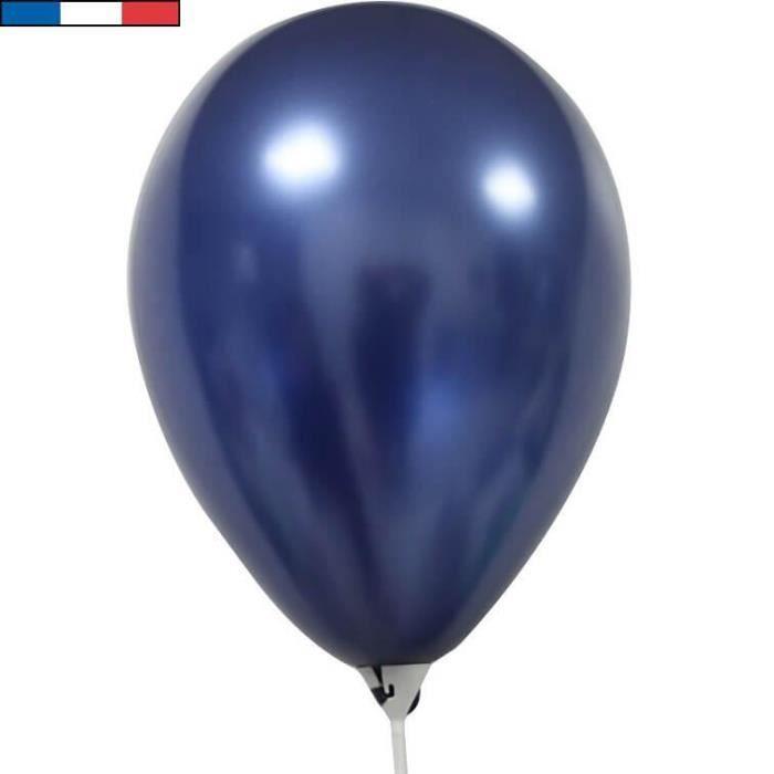 Ballon métallique latex bleu marine 30cm (x10) REF/51698 Made in France