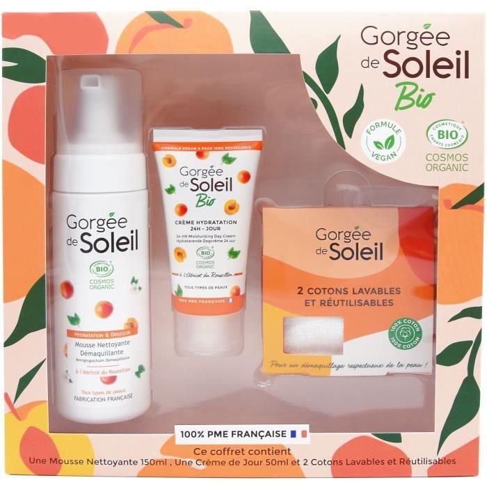 GORGEE DE SOLEIL Coffret Soins de Visage Bio : Crème, Mousse et Lingettes démaquillantes Lavables