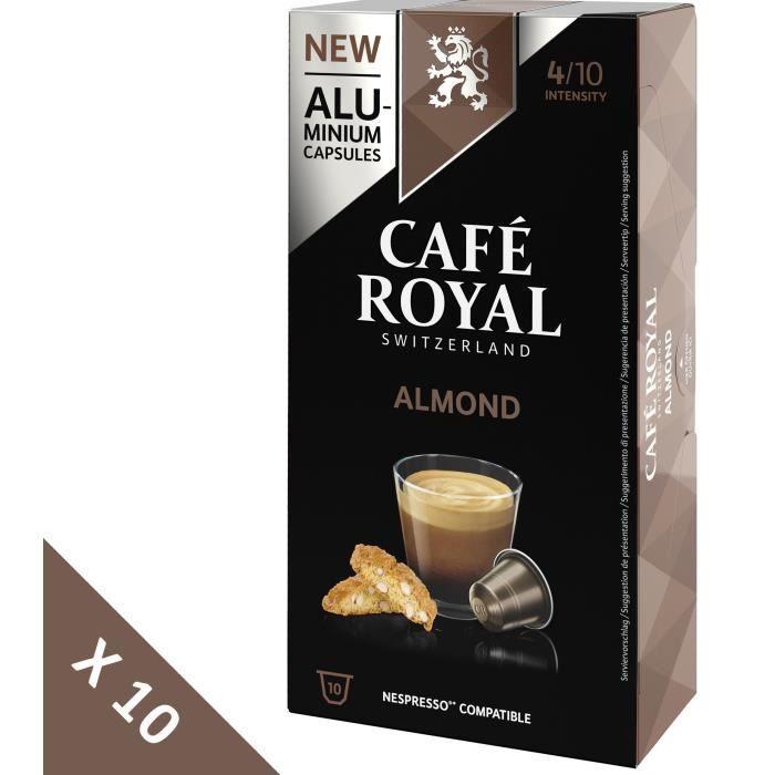 [Lot de 10] CAFE ROYAL Café compatible Nespresso Alu Amande x10