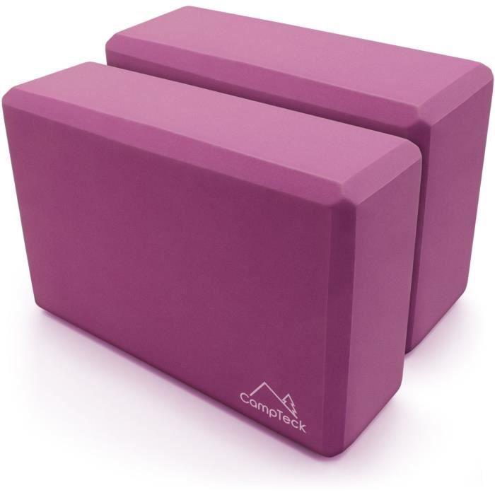 CampTeck Bloc Yoga en Mouse Léger Brique de Yoga Portable pour Pilâtes Fitness Exercices Balance et Équilibre - Violet 2 Pièce