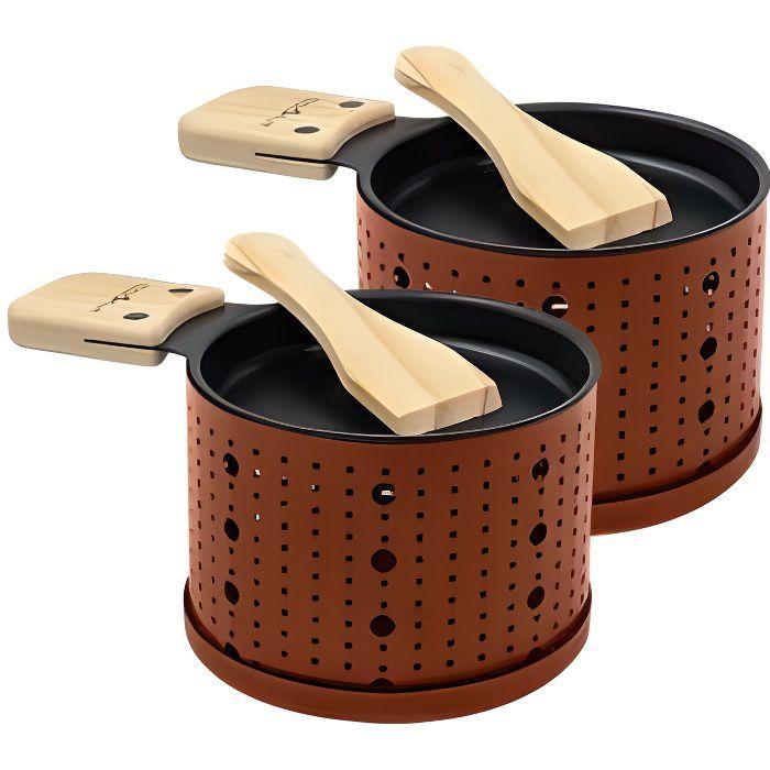 Cookut Set de 2 raclettes individuelles à la bougie Couleur Terracotta