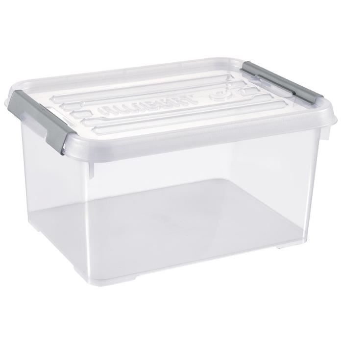 ALLIBERT Boîte de rangement Handy Plus - Clips gris - Couvercle transparent - 15 L
