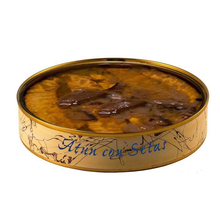 Thon aux champignons à l'huile d'olive de 280 grammes. Conserves artisanales de poisson gastronomique à Barbate (Espagne)