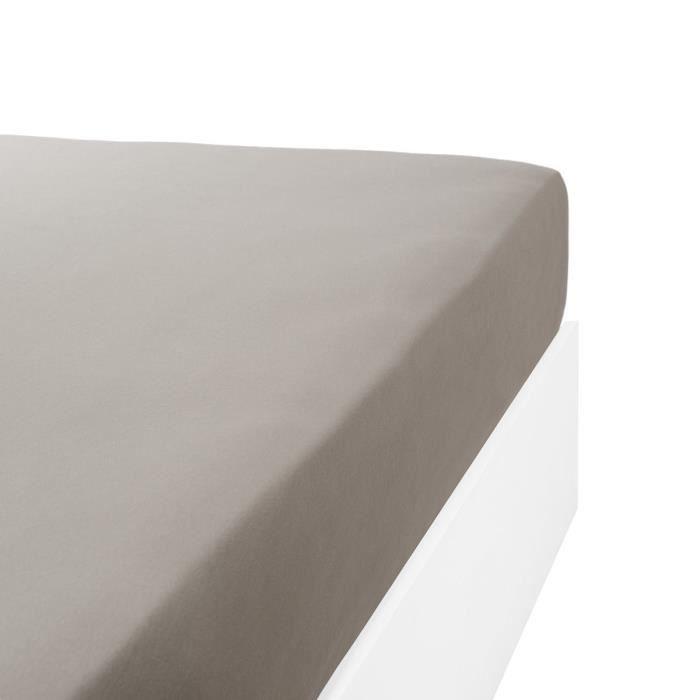 LINANDELLE - Drap housse coton jersey extensible lit double articulé PAPILLON - Gris - 100x200 cm