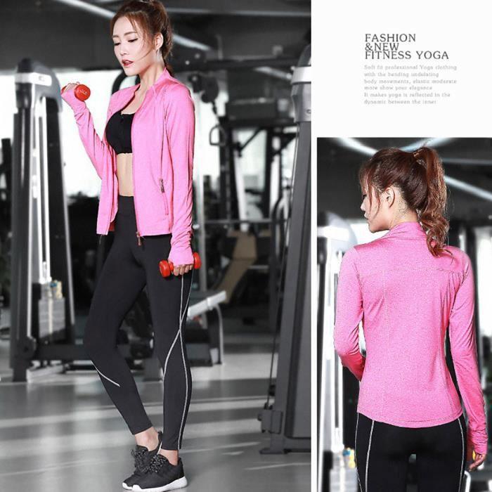 【VETEMENTS DE SPORT】Femmes Gym Running Yoga Outfit Sport Suit Set Pantalon + Soutien-gorge + Manteau Costume trois pièces - gris