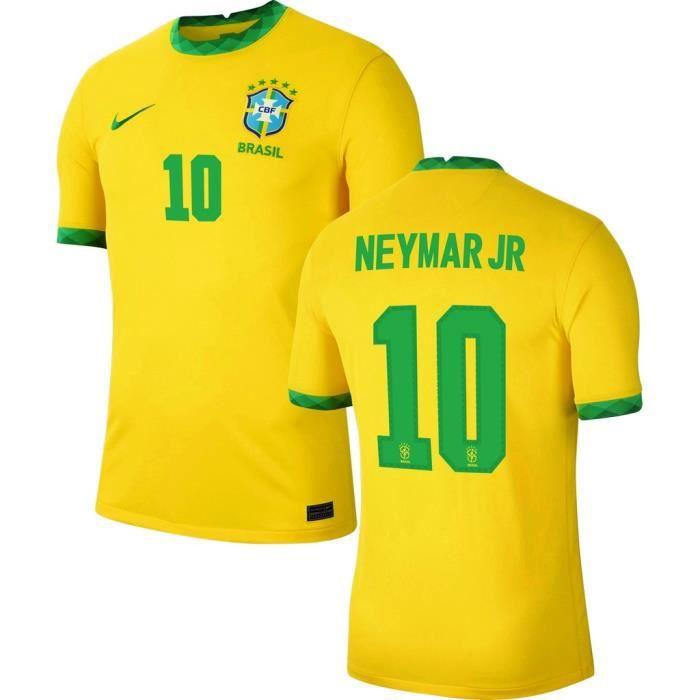 Nouveau Maillot de Foot 10 Neymar Jr BRESIL DOMICILE 2020 2021 Pas Cher pour Homme