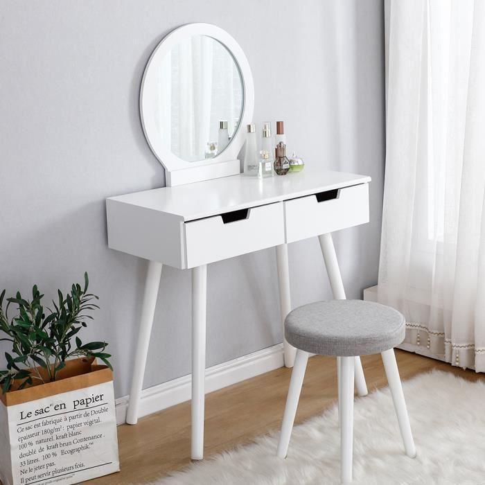 Table de maquillage à 2 tiroirs et miroir rond - Housse de tabouret amovible 80 x 40 x 128 cm Coiffeuse + tabouret