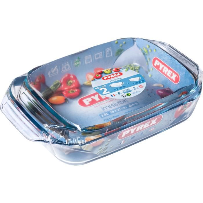 PYREX - Lot de 2 plats à four rectangulaires Irresistible 35x23 cm + 39x25 cm