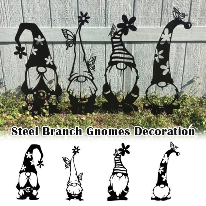 1 ensemble de décoration de branche en acier inoxydable mignon silhouette debout maison jardin cour décoration extérieure nouveau
