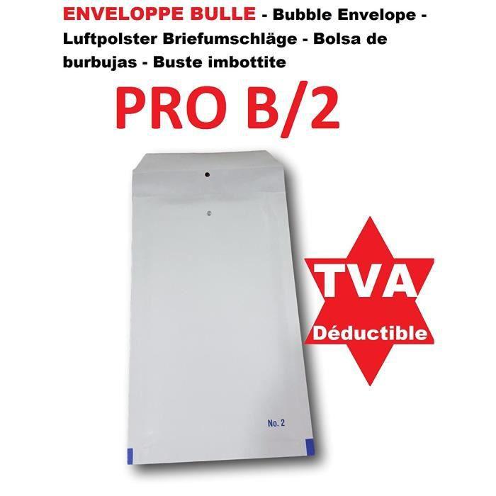 100 Enveloppe a Bulles blanche PRO B-2 120 x 215 mm (dimension pochette intérieure) type B2 enveloppe matelassé blanc 140 x 225