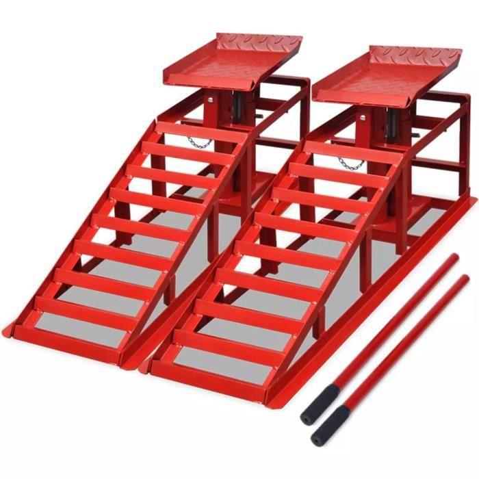 Rampe de levage pour voitures 2 pcs Acier rouge En Stock ABI