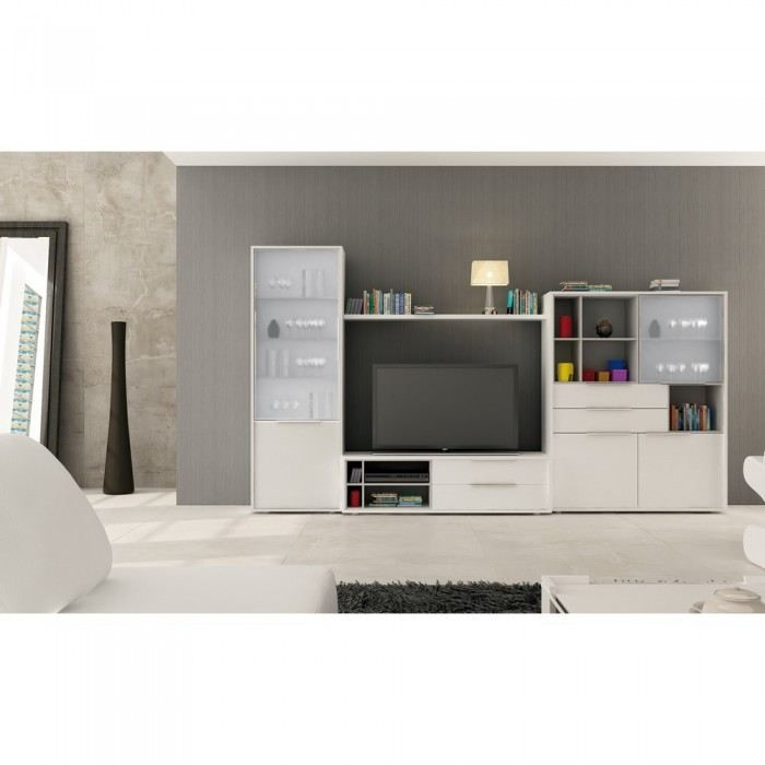 meuble salon mural tv mateo couleur blanc mati achat vente meuble tv meuble salon mural tv. Black Bedroom Furniture Sets. Home Design Ideas
