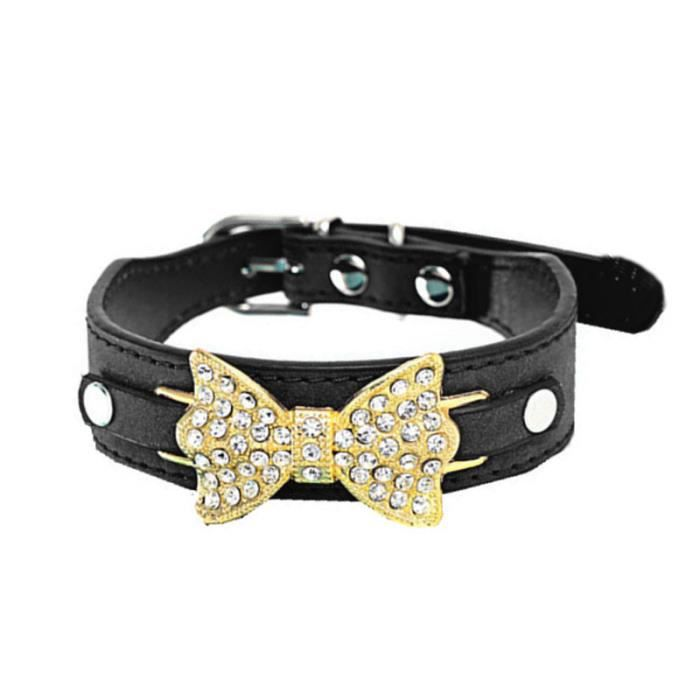 Chien Chiot Collier Chat En Cuir Bling Crystal Bow Bk - M _yini125