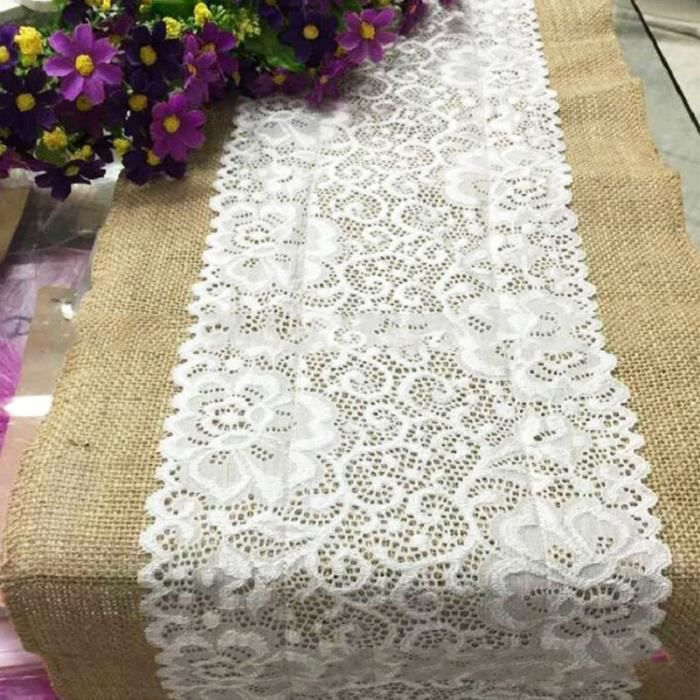 1x30x180cm Nappe Chemin De Table Rectangulaire Ruban Dentelle Decor