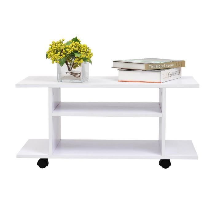Meuble tv bas table basse roulettes achat vente for Table pour tv