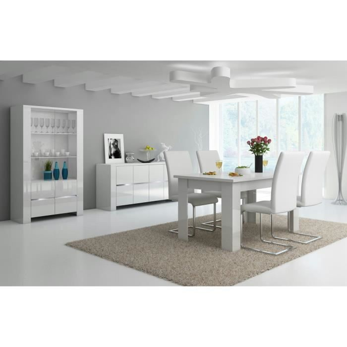salle a manger 3 pieces blanc laquee led achat vente salle manger salle a manger 3. Black Bedroom Furniture Sets. Home Design Ideas