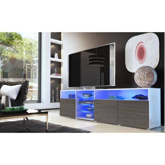 meuble tv blanc et bois weng avec tag re vitr e 194cm achat vente meuble tv meuble tv. Black Bedroom Furniture Sets. Home Design Ideas