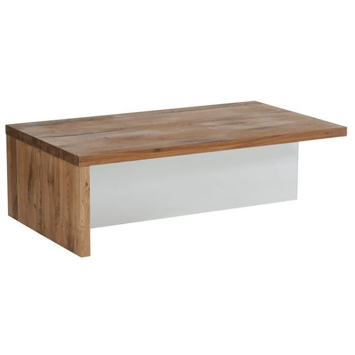 Table basse ch ne massif et pied en verre harvey meuble for Table basse en chene massif