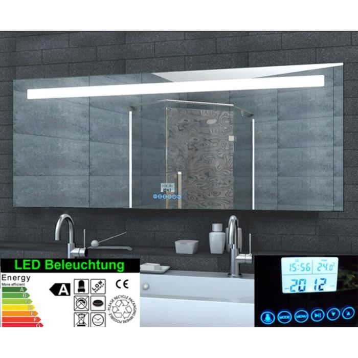 miroir de salle de bain led avec horloge radio mp3 touch interrupteur 160x60cm achat. Black Bedroom Furniture Sets. Home Design Ideas