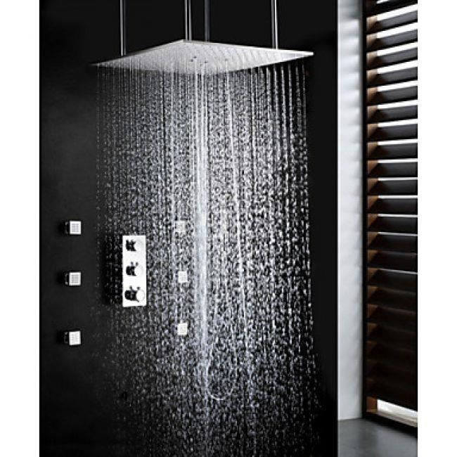 lookshop robinet de douche avec t te de douche oscillant de 20 pommeau de douche et jets d. Black Bedroom Furniture Sets. Home Design Ideas