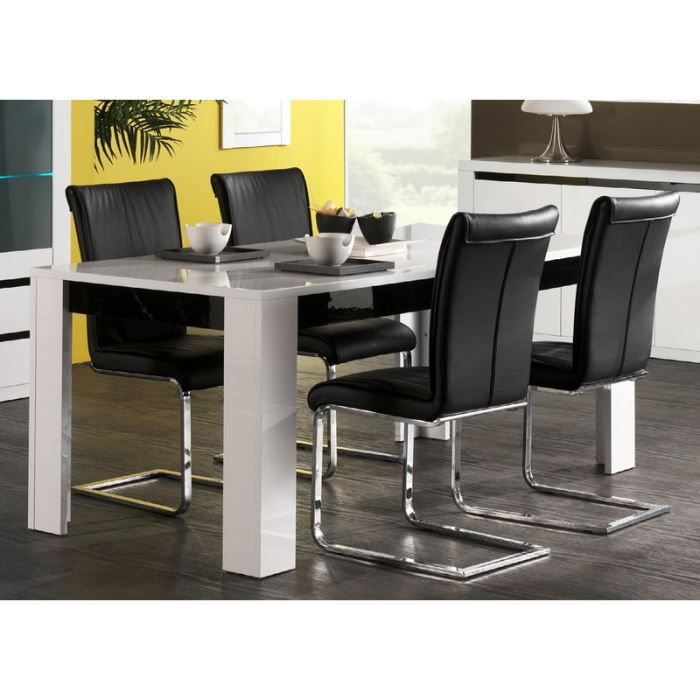 Table laqu e blanche 39 eden 39 190x90 cm achat vente table a manger - Table a manger blanche laquee ...