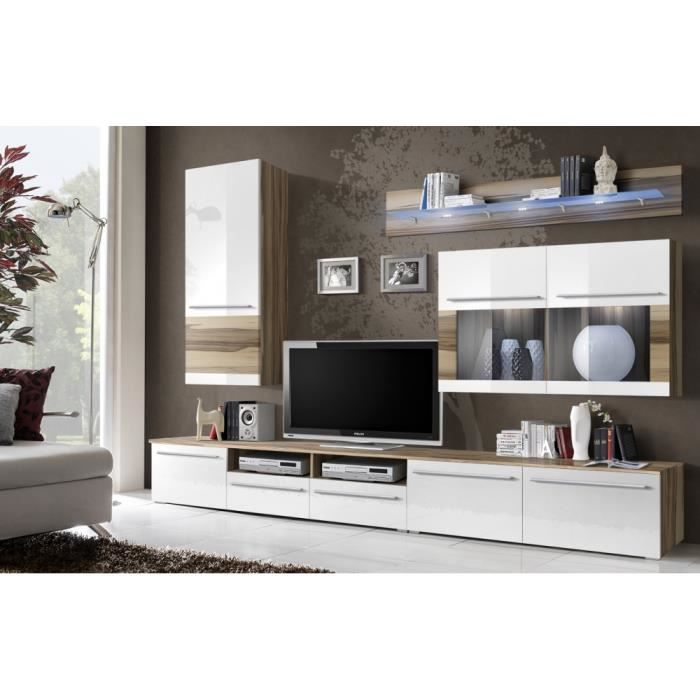 meuble t l mural maloi bois weng blanc 275cm achat vente meuble tv meuble t l mural. Black Bedroom Furniture Sets. Home Design Ideas