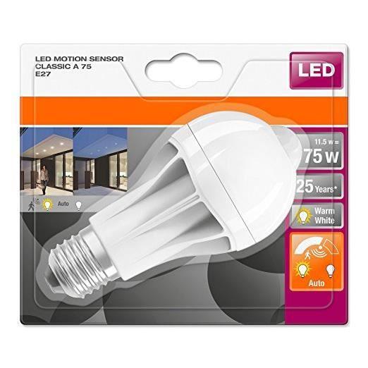 Osram DEL Motion Capteur e27 11.5 W 2700k Blanc Chaud DEL-Lampe comme 75 W Ampoule