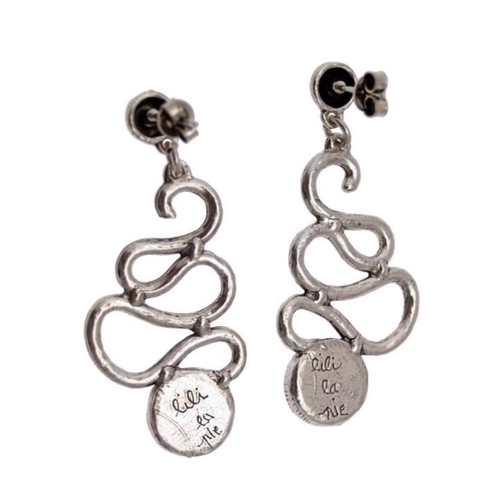 LILI la PIE Boucles doreilles clou pendant grand métal argenté collection VICE VERSA