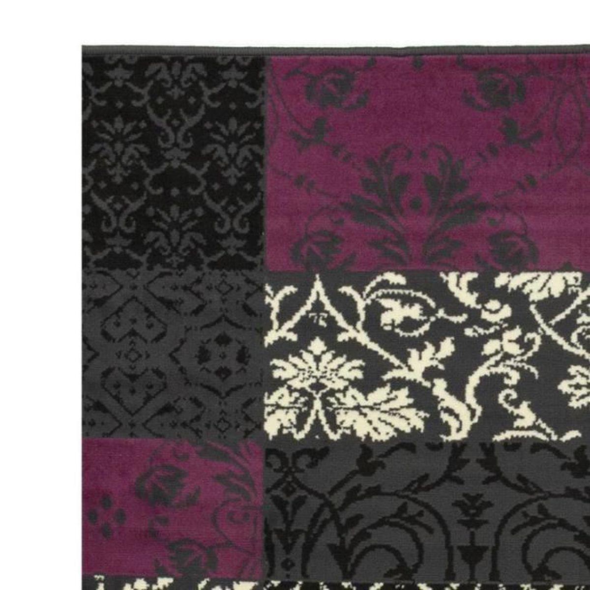 Chambre Baroque Noir Et Violet tapis salon patchwork baroque noir violet debonsol - 160x225cm