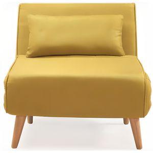 FAUTEUIL Fauteuil convertible en tissu jaune TONKA