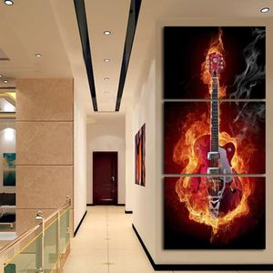 3 Piece Abstract Flaming Guitare Musique Bande Moderne Mur