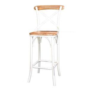 CHAISE Chaise de bar Loft métal blanc et bois naturel Meu