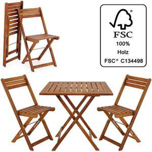 Ensemble table et chaise de jardin Ensemble table et chaises 3 pcs balcon pliable Sal
