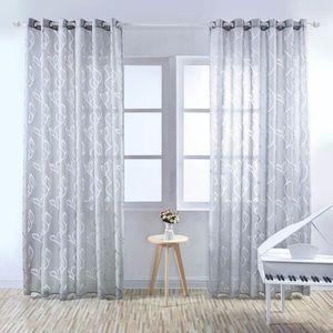 VOILAGE Rideau Voilage - Feuillet gris - 100 x 250 cm