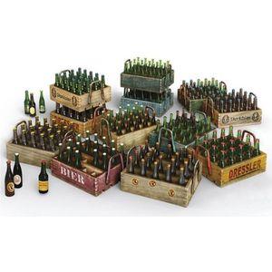 ASSEMBLAGE CONSTRUCTION Maquette bouteilles de bières et caisses en bois a