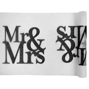 CHEMIN DE TABLE JETABLE CHEMIN DE TABLE MARIAGE MR & MRS 30 CM X 5 M  Noir