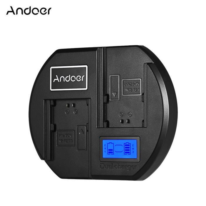 Andoer Fast Chargeur de batterie Caméra bicanal Chargeur de batterie Ecran LCD digital Entrée USB pour batterie Sony NP-FZ100