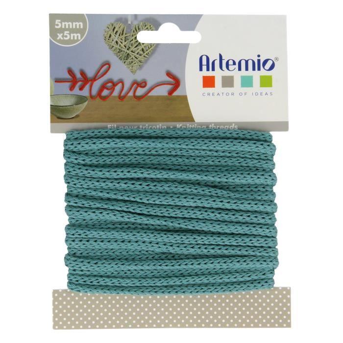 5 Mètres Fil tricotin vert bleu - Ficelle vert bleu 5mm