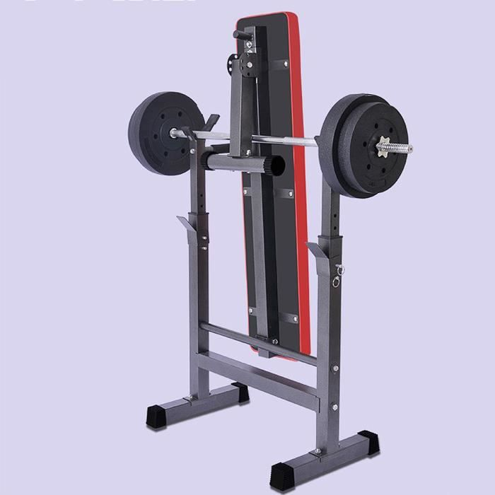 Banc de Musculation Pliable avec Squat Rack de rangement H'haltères réglable Multifontion-L.112xP.58.5xH.104 CM NOIR ET ROUGE