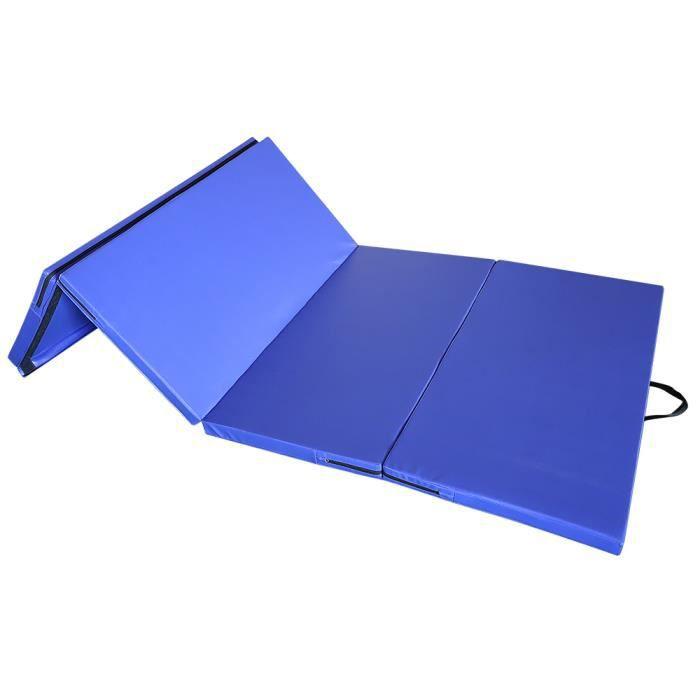 WISS 240x120x5cm Tapis de Gymnastique Tapis Sol Epais Pliable - Matelas Gymnastique - Tapis Sol -Bleu