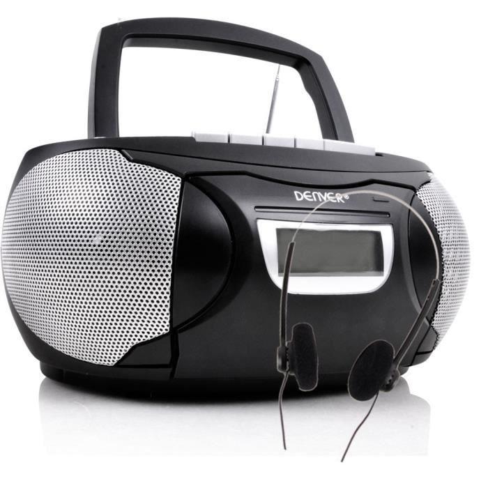 Chaîne hi-fi stéréo lecteur de cassettes CD AUX boombox portable noir musique