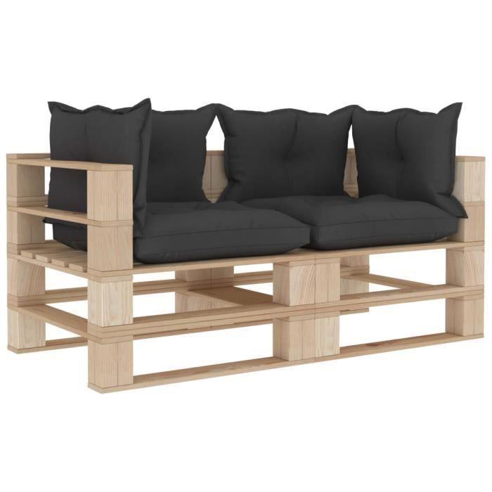 Luxueux Magnifique-Canapé palette à 2 places de jardin Jardin Patio Extérieur Salon avec coussins noir Bois