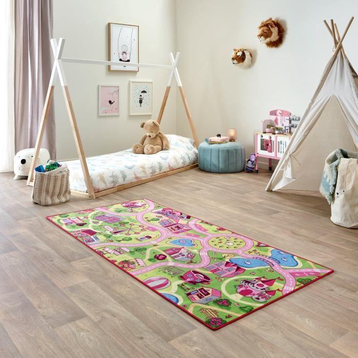 Tapis de Jeu Enfant 95x200cm, Sweet Town - Tapis Circuit Voiture - Lavable - Antidérapant - Carpet Studio