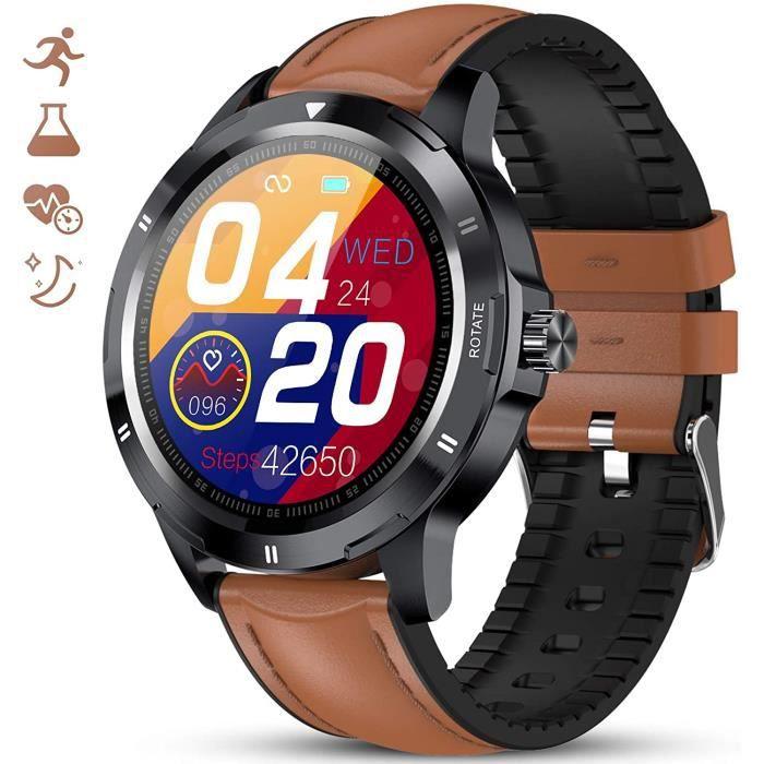 GOKOO Montre Connectée Homme Bracelet Connecté Moniteur de Fréquence Cardiaque Montre Cardio Sport Fitness Tracker d'Activité Calori